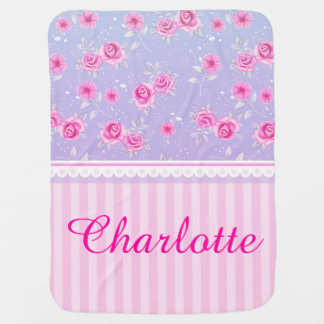 Cute Girly Pink Pink Floral Pattern Custom Name Stroller Blanket