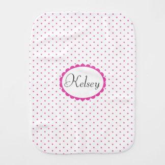 Cute Girly Pink Polka Dots Trendy Monogram Burp Cloth