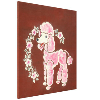 Cute Girly Pink Poodle Dog Gallery Wrapped Canvas