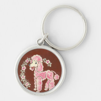 Cute Girly Pink Poodle Dog Silver-Colored Round Keychain