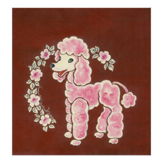 Cute Girly Pink Poodle Dog Posters