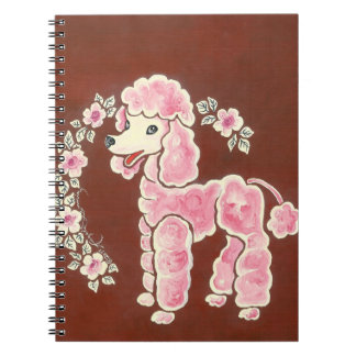 Cute Girly Pink Poodle Dog Spiral Notebook