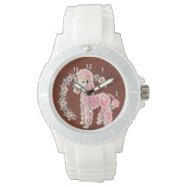 Cute Girly Pink Poodle Dog Watch