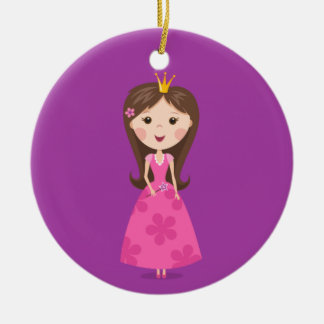 Cute girly pink princess on purple background ceramic ornament