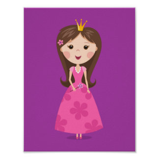 Cute girly pink princess on purple background print