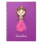 Cute girly pink princess on purple personalized spiral notebook