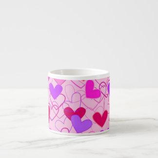 Cute Girly Pink Purple & Red Hearts Pattern 6 Oz Ceramic Espresso Cup
