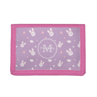 Cute Girly Pink Rabbit Pastel Purple Monogram Trifold Wallet