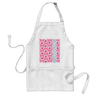 Cute girly pink raspberry patterns monogram adult apron
