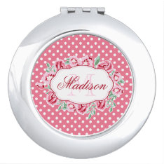 Cute Girly Pink Roses And Dots Monogram Compact Mirror at Zazzle