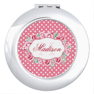 Cute Girly Pink Roses and Dots Monogram Compact Mirror