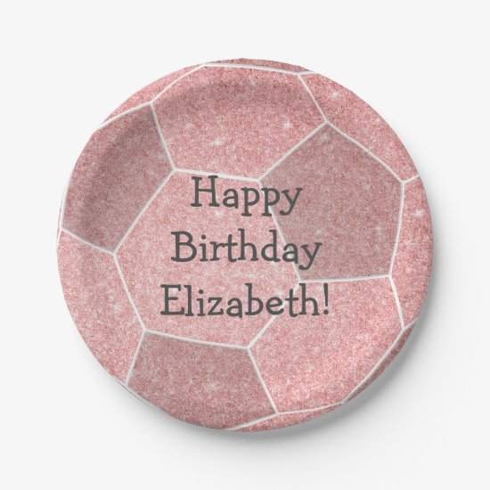 cute girly pink soccer birthday party paper plate