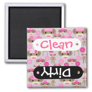 Cute Girly Pink Sock Monkey Girl Pattern Collage 2 Inch Square Magnet