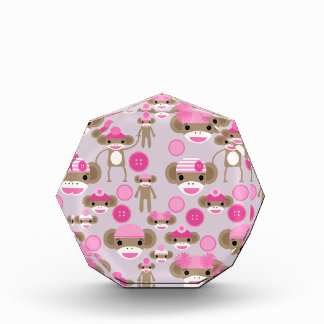 Cute Girly Pink Sock Monkey Girl Pattern Collage Award