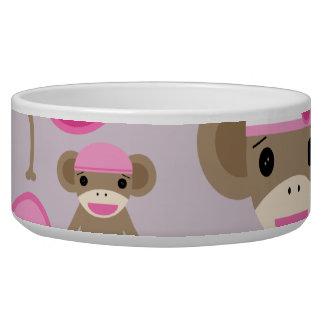 Cute Girly Pink Sock Monkey Girl Pattern Collage Bowl