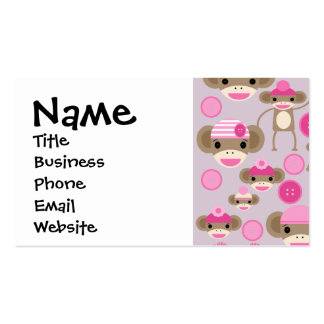 Cute Girly Pink Sock Monkey Girl Pattern Collage Business Card Templates