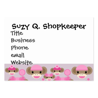 Cute Girly Pink Sock Monkey Girl Pattern Collage Large Business Cards (Pack Of 100)