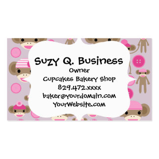 Cute Girly Pink Sock Monkey Girl Pattern Collage Double-Sided Standard Business Cards (Pack Of 100)