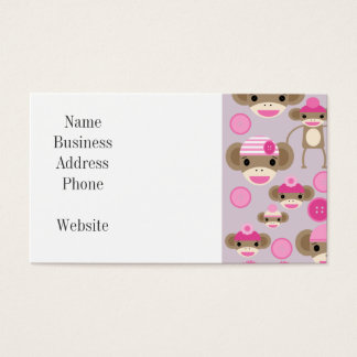 Cute Girly Pink Sock Monkey Girl Pattern Collage Business Card