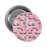 Cute Girly Pink Sock Monkey Girl Pattern Collage Button