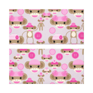 Cute Girly Pink Sock Monkey Girl Pattern Collage Stretched Canvas Prints