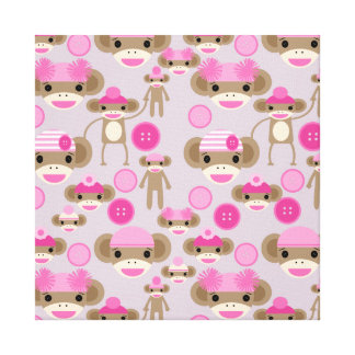 Cute Girly Pink Sock Monkey Girl Pattern Collage Canvas Print