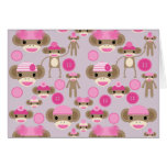 Cute Girly Pink Sock Monkey Girl Pattern Collage Card