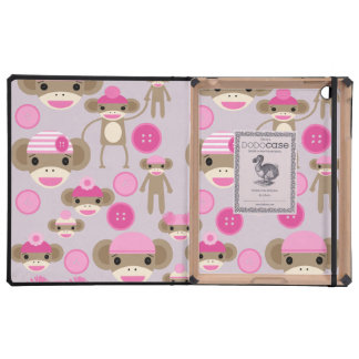 Cute Girly Pink Sock Monkey Girl Pattern Collage iPad Cases