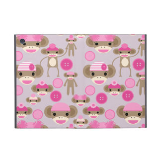 Cute Girly Pink Sock Monkey Girl Pattern Collage Cases For iPad Mini