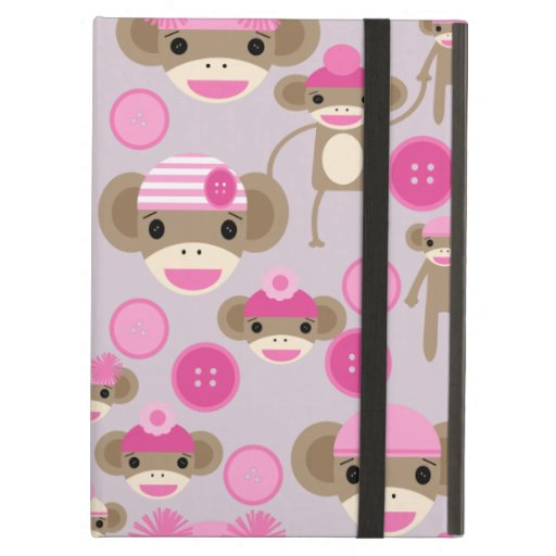 Cute Girly Pink Sock Monkey Girl Pattern Collage Cover For iPad Air