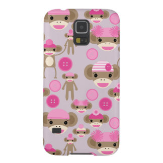 Cute Girly Pink Sock Monkey Girl Pattern Collage Galaxy S5 Case