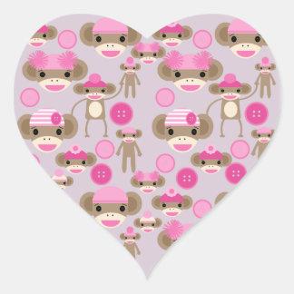 Cute Girly Pink Sock Monkey Girl Pattern Collage Heart Sticker