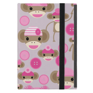 Cute Girly Pink Sock Monkey Girl Pattern Collage Cover For iPad Mini