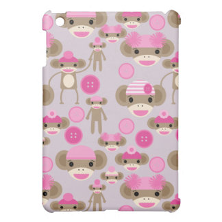 Cute Girly Pink Sock Monkey Girl Pattern Collage Case For The iPad Mini