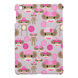 Cute Girly Pink Sock Monkey Girl Pattern Collage iPad Mini Cover