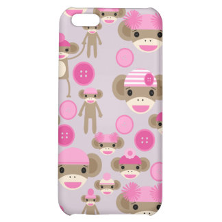 Cute Girly Pink Sock Monkey Girl Pattern Collage Case For iPhone 5C