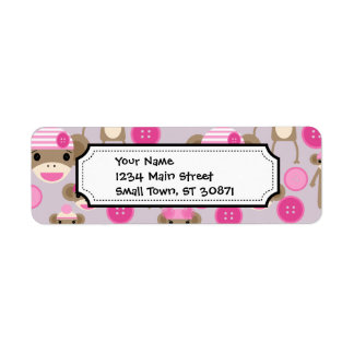 Cute Girly Pink Sock Monkey Girl Pattern Collage Custom Return Address Labels