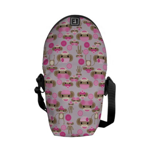 Cute Girly Pink Sock Monkey Girl Pattern Collage Messenger Bags