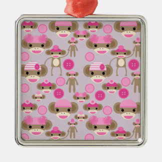 Cute Girly Pink Sock Monkey Girl Pattern Collage Metal Ornament