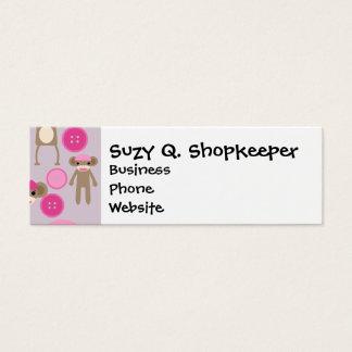 Cute Girly Pink Sock Monkey Girl Pattern Collage Mini Business Card