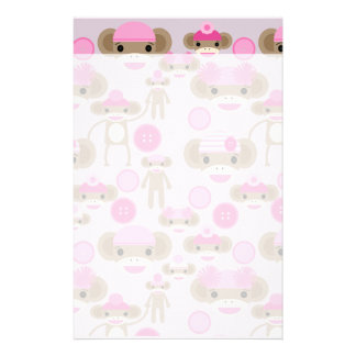Cute Girly Pink Sock Monkey Girl Pattern Collage Stationery