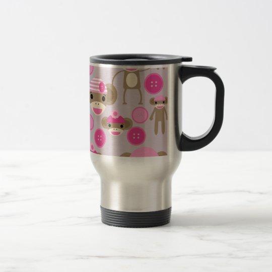 Cute Girly Pink Sock Monkey Girl Pattern Collage Travel Mug