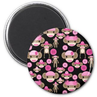 Cute Girly Pink Sock Monkeys Girls on Black 2 Inch Round Magnet