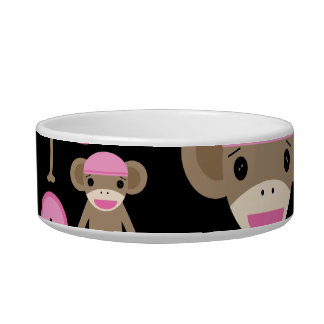 Cute Girly Pink Sock Monkeys Girls on Black Bowl