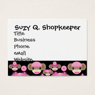 Cute Girly Pink Sock Monkeys Girls on Black Business Card