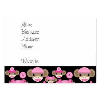 Cute Girly Pink Sock Monkeys Girls on Black Large Business Cards (Pack Of 100)
