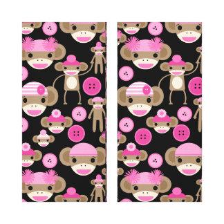 Cute Girly Pink Sock Monkeys Girls on Black Gallery Wrap Canvas