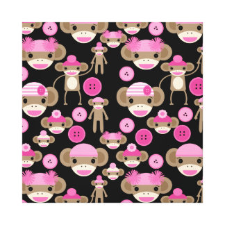 Cute Girly Pink Sock Monkeys Girls on Black Stretched Canvas Prints