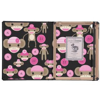 Cute Girly Pink Sock Monkeys Girls on Black Covers For iPad