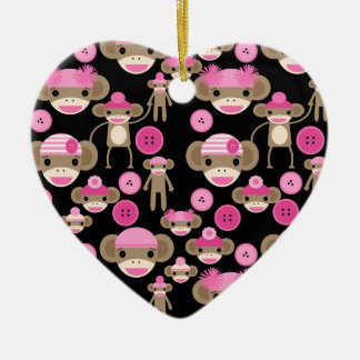 Cute Girly Pink Sock Monkeys Girls on Black Ceramic Ornament